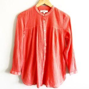 LOFT Coral Gauze Collarless Button Down Shirt